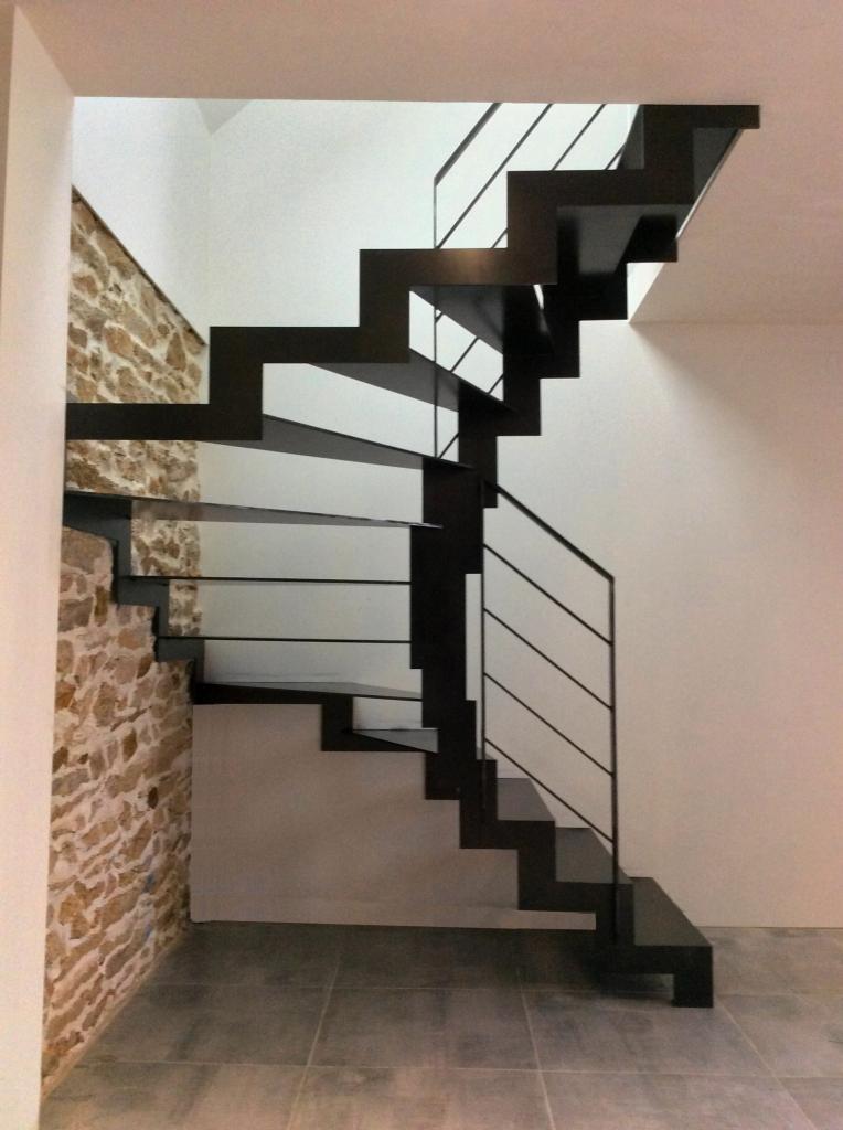 Escalier métallique contemporain - Art Métal Concept Quimper